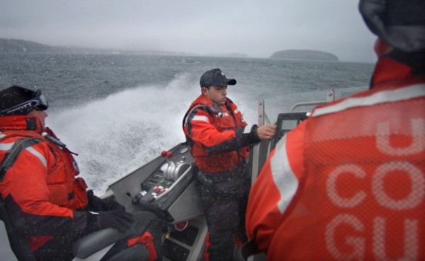 U.S. Coast Guard officers patrol Frenchman Bay south of Bar Harbor in March 2003.