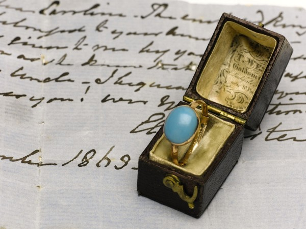 The gold and gem set ring belonging to English author Jane Austen sold for $236,617 recently at Sotheby's in London.