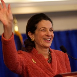 Former Sen. Olympia Snowe at Bar Harbor library on June 27