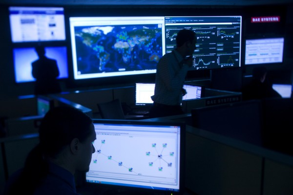 A defense company office where the Internet is monitored for potential threats, bugs and viruses.