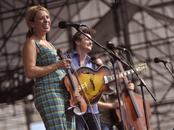The Hot Club of Cowtown performs Texas swing at the Railroad Stage during the American Folk Festival in Bangor in August 2011.