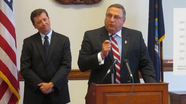 Maine Education Commissioner Stephen Bowen and Gov. Paul LePage discuss their new ABC Plan for education reform on Wednesday, July 25, 2012, in the State House.
