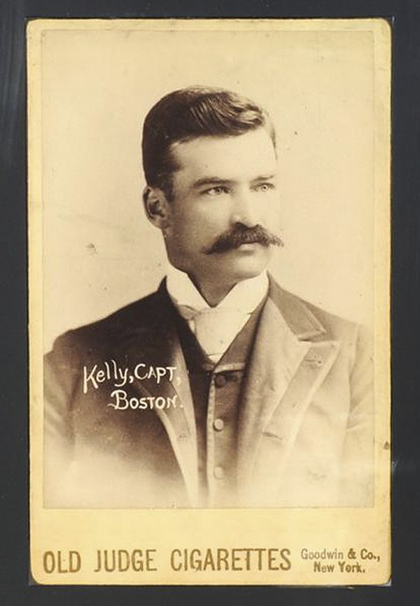 This photo released by Saco River Auction Co. in Biddeford shows a rare 1888 card of Hall of Fame baseball player Michael &quotKing&quot Kelly of the Boston Beaneaters club, which was sold at auction Wednesday night, Aug. 29, 2012, for $62,000. Kelly was a star in his day and considered to be the first celebrity baseball player. The card is one of only four known to exist.