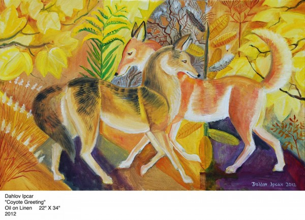 &quotCoyote Greeting,&quot by Dahlov Ipcara (oil on linen).