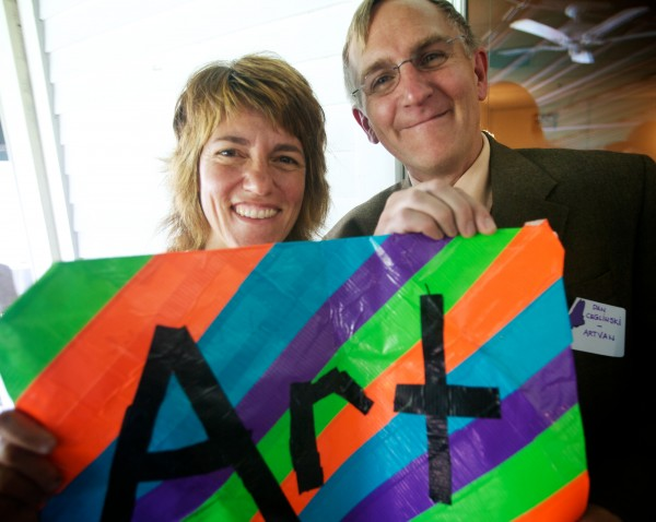 Jamie Silvestri and Dan Ceglinski of ArtVan celebrate their $10,000 grant from the Quimby Family Foundation in Freeport on Friday, August 24, 2012. ArtVan is a free mobile art therapy program that brings art to children, teens and adults who have limited access to social services, after-school and summer activities.