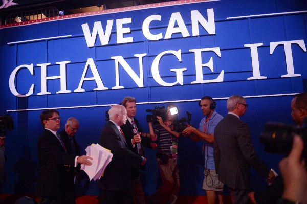 Republican senator and former Presidential nominee John McCain arrives at the Republican National Convention, Wednesday, Aug. 29, 2012 in Tampa, Fla.