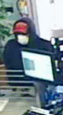 A surveillance photo of the suspected robber of Camden National Bank in Bingham on Thursday, Aug. 30, 2012.