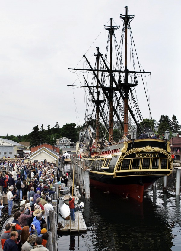 The 17th century replica ship H.M.S. Bounty is launched at Boothbay Harbor in June 2007.