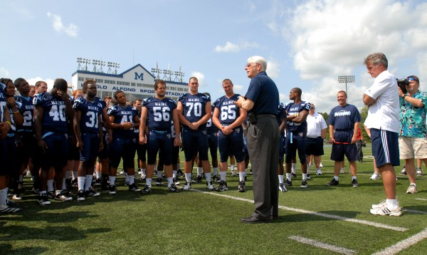 University of Maine President Paul Ferguson speaks to the Maine Black Bears football team at Alfond Stadium during Media Day on Friday afternoon, Aug. 17, 2012.