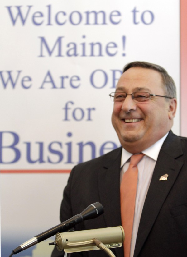 Gov. Paul LePage smiles during a ceremony at the Blaine House in Augusta in April 2012.