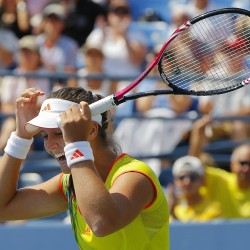 Britain's Laura Robson reacts after her match against China's Li Na in the third round of play at the 2012 US Open tennis tournament, Friday, Aug. 31, 2012, in New York. Robson won the match.