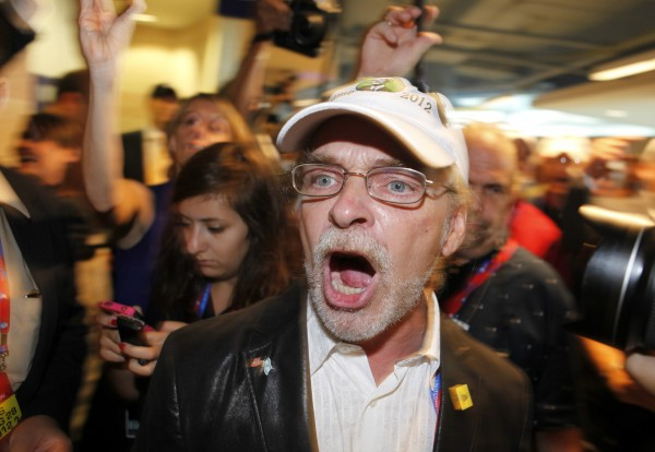 Maine delegate, Maine Tea Party founder, and Ron Paul supporter Pete Harring of Auburn shouts as he walks out of the hall in disgust over not being seated at the 2012 Republican National Convention at the Tampa Bay Times Forum in Tampa, Florida, on Tuesday, Aug. 28, 2012.