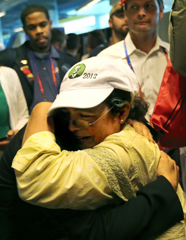 Maine delegates Julie Morgan of Exeter (left) and Washington County Coordinator Violet Willis of Dennysville cry and hug as they react to part of the Maine delegation walking out at the Republican National Convention at the Tampa Bay Times Forum in Tampa, Florida on Tuesday, Aug. 28, 2012.