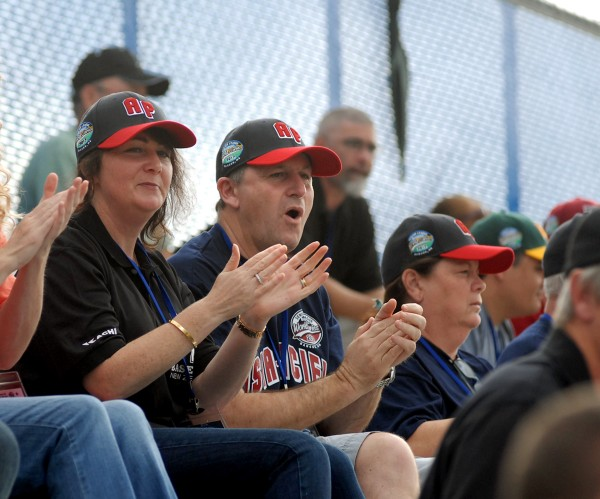 The Right Honorable John Key, Prime Minister of New Zealand, and his wife, Bronagh Key, cheer on the Asia Pacific team from Auckland, New Zealand on the first day of the Senior Little League World Series Sunday evening at Mansfield Stadium in Bangor, Maine. The Keys are watching their son Max, who plays right field on the team.