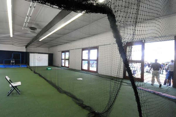 Interior view of the new Paul Mitchell Batting Pavilion at the University of Maine in Orono.