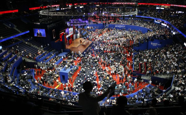 Delegates gather in the Tampa Bay Times Forum during the Republican National Convention in Tampa, Fla., on Tuesday, Aug. 28, 2012.