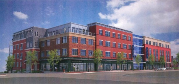 This architect's rendering illustrates the Middle Street view of a new $18 million condominium and retail project being proposed as Phase II of the redevelopment of the former Jordan's Meats factory on Fore Street in Portland. The project was unanimously approved Tuesday night, Aug. 14, 2012, by the city's Planning Board.