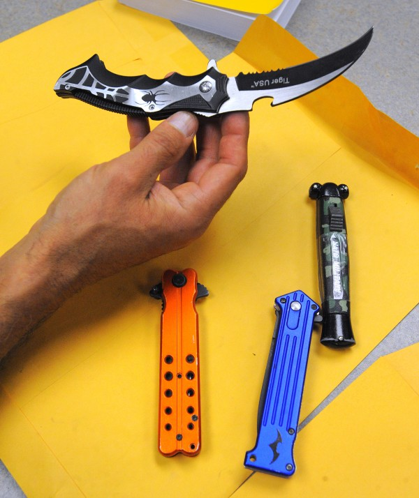 Illegal knives that were confiscated by Bagor Police recently.