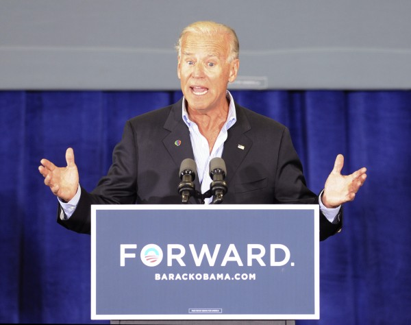 Vice President Joe Biden speaks during a campaign stop at the Spiller Elementary School in Wytheville, Va., Tuesday, Aug. 14. His recent comments began yet another round of bickering between presidential campaigns.