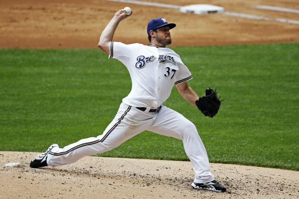 Milwaukee Brewers starting pitcher Mark Rogers throws against the Washington Nationals during the first inning of a baseball game, Sunday, July 29, 2012, in Milwaukee.
