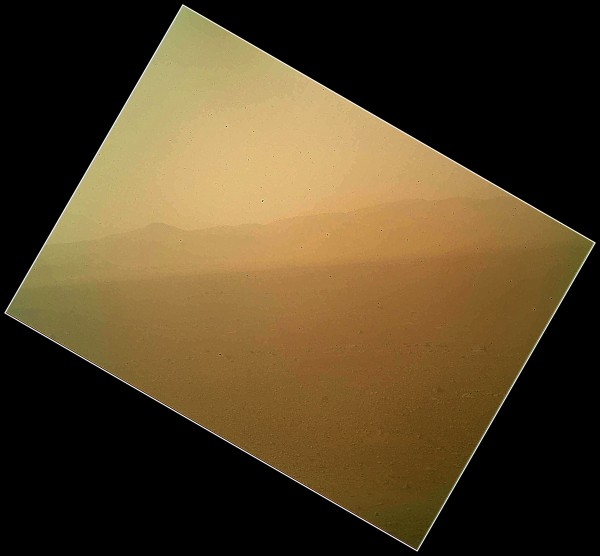 The first color landscape image of Mars from NASA's Mars rover Curiosity shows the landscape to the north and was acquired by the Mars Hand Lens Imager (MAHLI) on the afternoon of the first day after landing on Aug. 6.