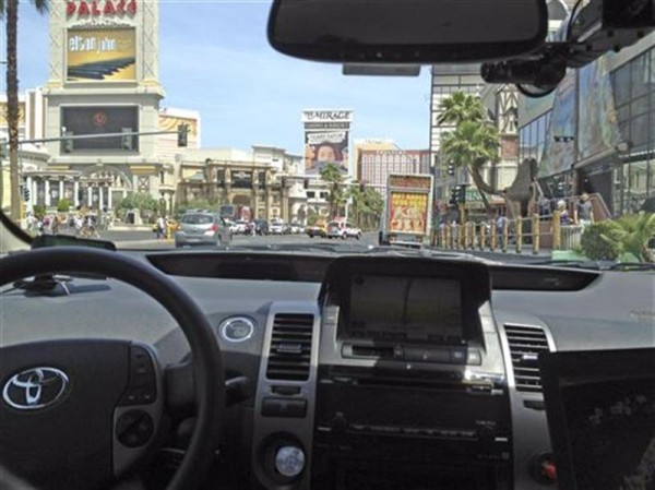 A Google self-driven car is tested in Las Vegas.