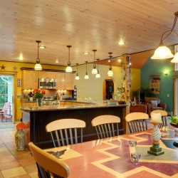 Bangor Kitchen Decorated in Southwestern Style with table handmade by owners