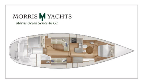 Morris Yachts is completely redesigning the below-decks living area for the Ocean Series 48 GT, which will include such amenities as a circular glass shower in the master suite and a pull-out freezer and washer/dryer in the galley.