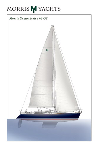 Morris Yachts announced Saturday, Aug. 4, 2012, it plans to design and build a streamlined version of its popular Ocean Series 48 sailing yacht, the 48 GT, which is depicted in this rendering. The new series of luxury yachts is expected to be introduced in 2013.