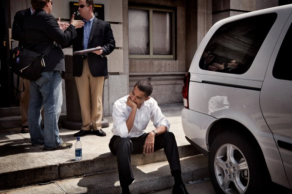 Sen. Barack Obama collects his thoughts before going on stage at a rally in Iowa, April 2007.