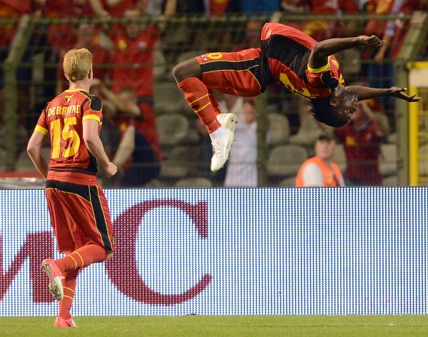 Belgium's Romelu Lukaku (right) celebrates with teammate Kevin De Bruyne after he scored against the Netherlands during a friendly soccer match at the King Baudouin stadium in Brussels on Wednesday, Aug. 15, 2012.