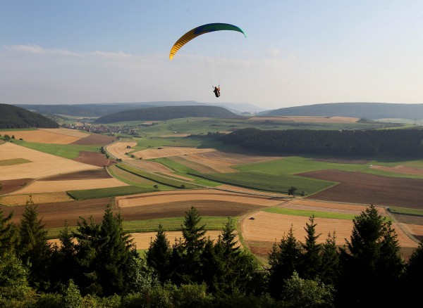 A paraglider flies over cornfields at the edge of the black forest in Fuerstenberg, southern Germany on Thursday, Aug. 23, 2012.
