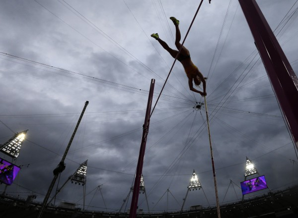 Australia's Alana Boyd clears the bar in the women's pole vault final during the athletics in the Olympic Stadium at the 2012 Summer Olympics in London on Monday, Aug. 6, 2012.