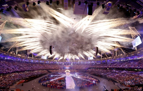 Fireworks explode during the Closing Ceremony at the 2012 Summer Olympics, Monday, Aug. 13, 2012, in London.