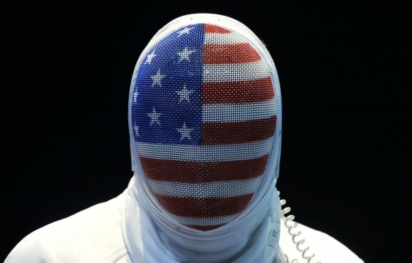 The United States' Seth Kelsey looks on during his match against Estonia's Nikolai Novosjolov in the men's individual epee fencing competition at the 2012 Summer Olympics on Wednesday, Aug. 1, 2012, in London.