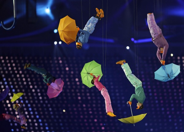 Performers with umbrellas are suspended in the air during the Opening Ceremony for the 2012 Paralympics in London on Wednesday Aug. 29, 2012.