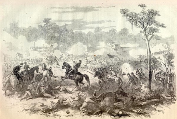 Union troops advance to support comrades battling some 6,000 Confederate soldiers during the Aug. 5, 1862 Battle of Baton Rouge, La. The 14th Maine Infantry suffered heavy casualties while fighting for several hours; Confederate infantry overran the regiment's camp and stole or burned everything found there.