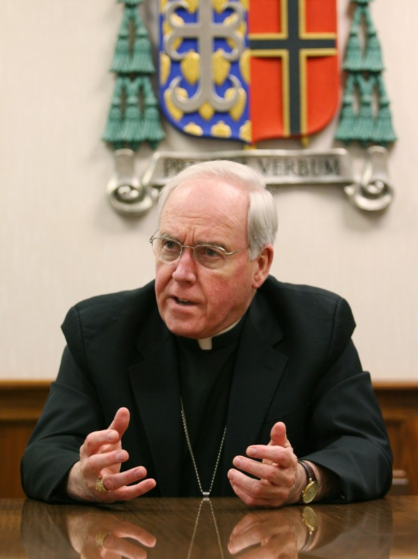 Bishop Richard Malone speaks Monday, July 30, 2012 during an interview in Portland, Maine. Malone is being reassigned to the diocese of Buffalo N.Y., but will remain as the Administrator of the diocese of Portland until a replacement is named.
