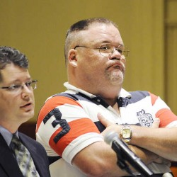 Christopher S. Frazer of Lewiston pleaded guilty on Monday, Aug. 27, 2012 in Androscoggin County Superior Court in Auburn to welfare fraud and unlawful possession of scheduled drugs. He was sentenced to three years in jail, with all but six months suspended, for stealing $3,600 in benefits from Maine's food stamp program. Standing with Frazer is his attorney Adam Sherman of Lewiston.