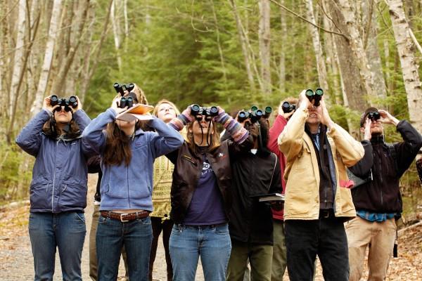 COA students take to the woods to study ornithology.