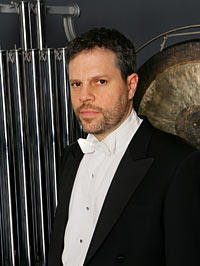 Percussioninst Daniel Druckman of the New York Philharmonic performs opening night at Salt Bay Chamberfest in Damariscotta, August 14