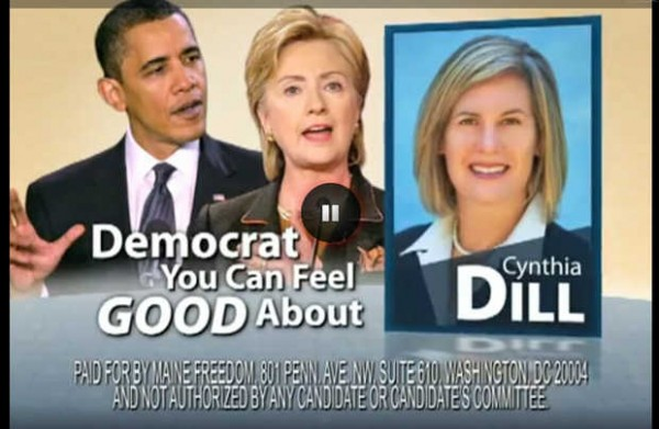 An image from an ad touting state Sen. Cynthia Dill for being, &quotA Democrat you can feel good about,&quot was recently purchased and aired in Maine by Maine Freedom, a Washington, D.C.-based political action committee.