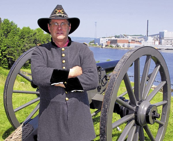 Clad in the uniform of a Union artillery captain, Gordon McRae of Eddington leans against the 10-pound Parrott gun that the Sixth Maine Battery brought to Fort Knox in Prospect on Saturday, June 30, 2012. McRae was involved in Maine-based Civil War re-enacting since the early 1990s; he helped build this particular cannon and, along with Bill Lannon of Ellsworth, founded the Sixth Maine Battery. Extremely knowledgeable about the war and many aspects of Maine's involvement, McRae died unexpectedly on July 6.