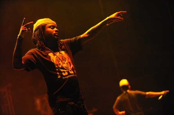 The rapper Wale and his crew perform at the KahBang festival on Bangor's waterfront Friday night, Aug. 10, 2012.