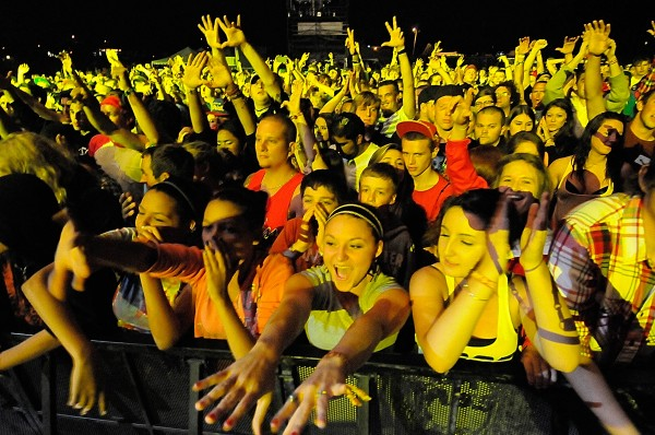Despite the occasional drizzle, a large energetic crowd turned out Friday night, Aug. 10, 2012 for the rapper Wale and other music acts at the KahBang festival on Bangor's waterfront.
