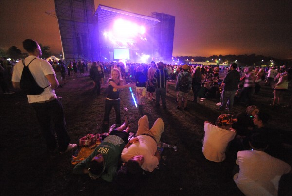 There were a few empty spots for concert goers to lay back and relax while hundreds of others crowded around the Main Stage during Saturday night's KahBang festival on Bangor's waterfront.