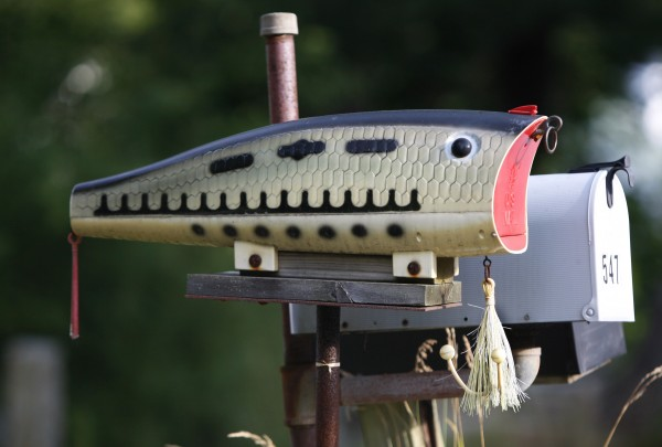 A fishing lure mailbox on Ferry Road in Saco.