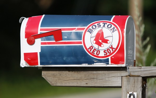 A Red Sox fan's mailbox on Ferry Road in Saco.