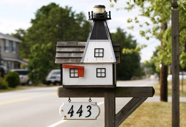 A lighthouse mailbox at Dentico's Cottages on Route 9 in Saco.