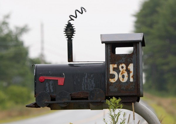 A locomotive is ready to accept mail on Pleasant Hill Road in Brunswick.
